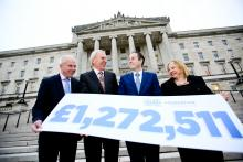 Halifax Foundation NI Stormont 2016 - (l-r) , Jim McCooe, Lloyds Banking Group Ambassador for NI and Halifax Foundation NI Trustee, Dr Brian Scott, HFNI Chairman, Minister for Communities Mr Paul Givan MLA, Imelda McMillan, HFNI Deputy Chair